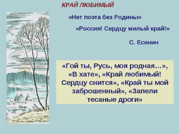 Анализ стихотворения Край любимый! Сердцу снятся Есенина