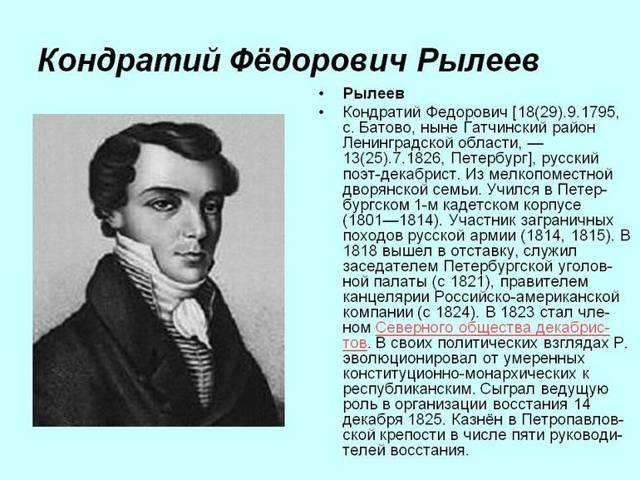 Жизнь и творчество Кондратия Рылеева