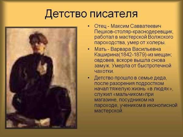 Хронологическая таблица Горького (жизнь и творчество)