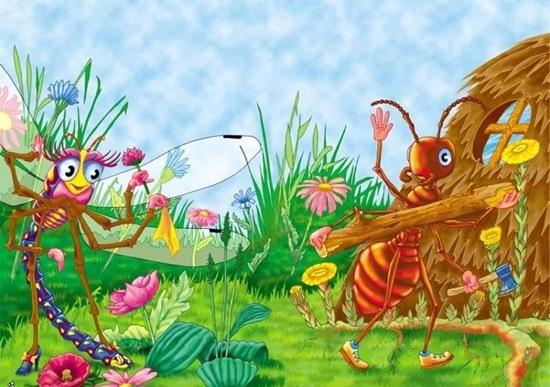 Стрекоза и муравей - краткое содержание басни Крылова